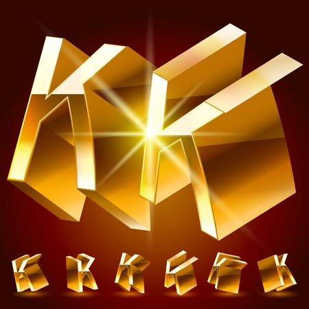 reflexion: 3D vector deluxe alphabet of randomly rotated thin golden symbols. All symbols in set have 8 random points of view. Letter K