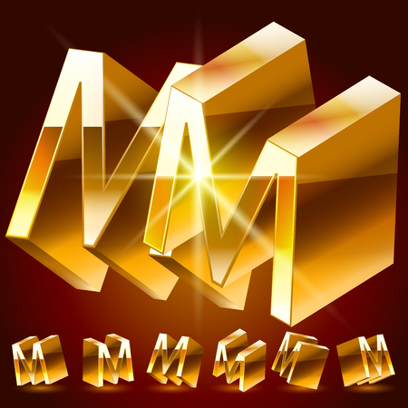 3D vector deluxe alphabet of randomly rotated thin golden symbols. All symbols in set have 8 random points of view. Letter M
