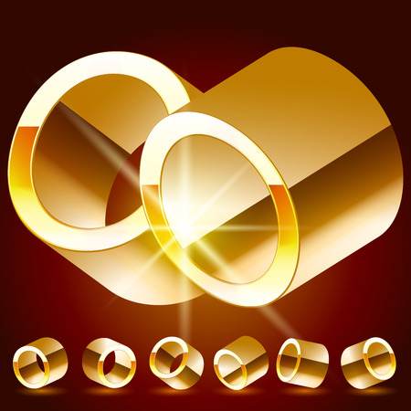 rotated: 3D vector deluxe alphabet of randomly rotated thin golden symbols. All symbols in set have 8 random points of view. Letter O
