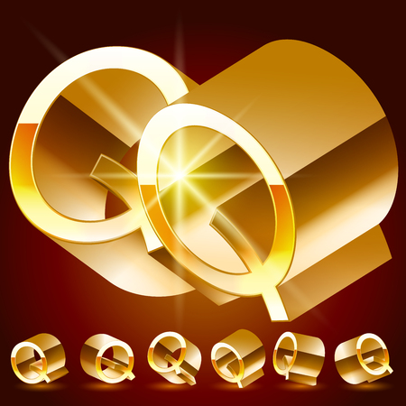 reflexion: 3D vector deluxe alphabet of randomly rotated thin golden symbols. All symbols in set have 8 random points of view. Letter Q