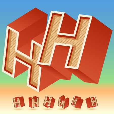 original: 3D vector retro alphabet for summer typography design. All symbols in set have 8 random points of view.  Letter H Illustration