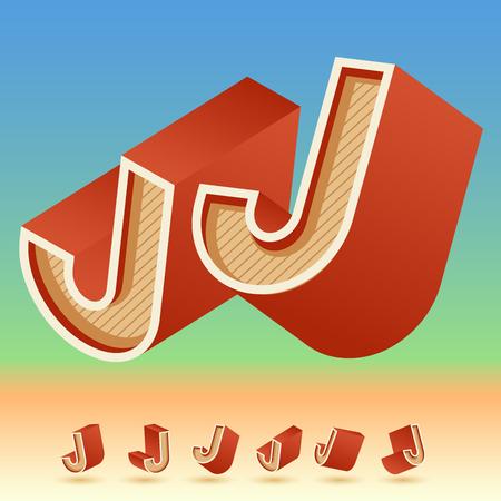 3D vector retro alphabet for summer typography design. All symbols in set have 8 random points of view.  Letter J
