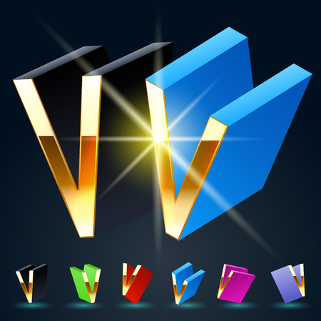 fanciful: 3D vector futuristic luxury alphabet with gold. All symbols in set have 8 random points of view and 6 different colors. Letter V Illustration