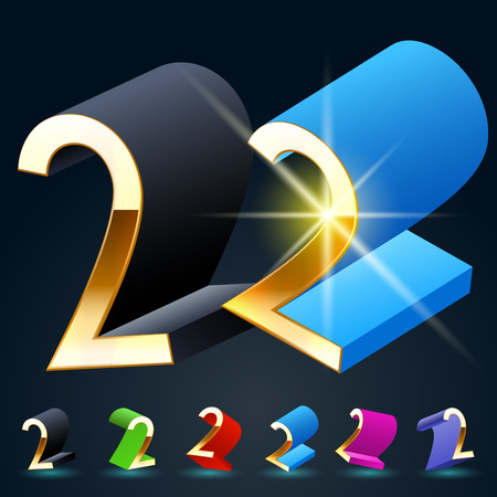 3D vector futuristic luxury alphabet with gold. All symbols in set have 8 random points of view and 6 different colors. Number 2 Illustration
