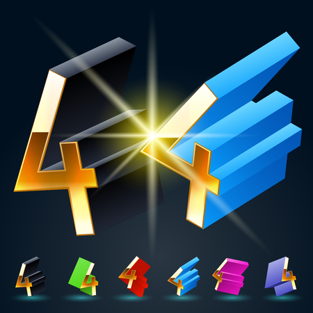 3D vector futuristic luxury alphabet with gold. All symbols in set have 8 random points of view and 6 different colors. Number 4 Illustration