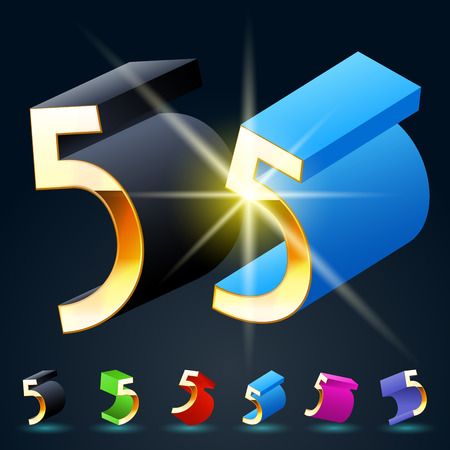 fanciful: 3D vector futuristic luxury alphabet with gold. All symbols in set have 8 random points of view and 6 different colors. Number 5 Illustration