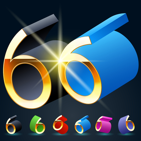 fanciful: 3D vector futuristic luxury alphabet with gold. All symbols in set have 8 random points of view and 6 different colors. Number 6 Illustration