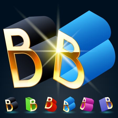 fanciful: 3D vector futuristic luxury alphabet with gold. All symbols in set have 8 random points of view and 6 different colors. Letter B Illustration