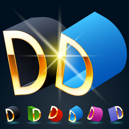 fanciful: 3D vector futuristic luxury alphabet with gold. All symbols in set have 8 random points of view and 6 different colors. Letter D