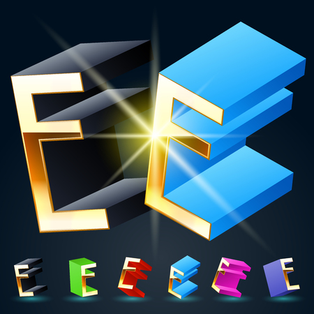 fantastical: 3D vector futuristic luxury alphabet with gold. All symbols in set have 8 random points of view and 6 different colors. Letter E Illustration