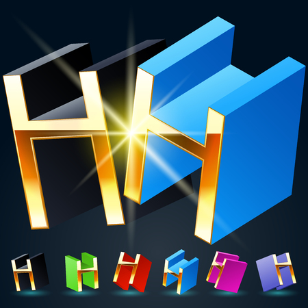 fanciful: 3D vector futuristic luxury alphabet with gold. All symbols in set have 8 random points of view and 6 different colors. Letter H