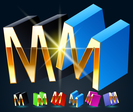 fanciful: 3D vector futuristic luxury alphabet with gold. All symbols in set have 8 random points of view and 6 different colors. Letter M