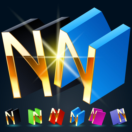 fantastical: 3D vector futuristic luxury alphabet with gold. All symbols in set have 8 random points of view and 6 different colors. Letter N