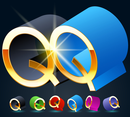 fantastical: 3D vector futuristic luxury alphabet with gold. All symbols in set have 8 random points of view and 6 different colors. Letter Q