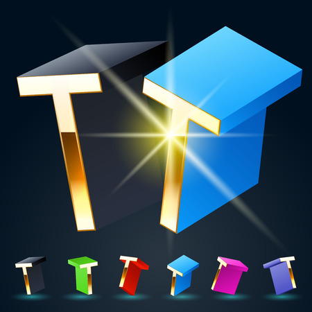 fantastical: 3D vector futuristic luxury alphabet with gold. All symbols in set have 8 random points of view and 6 different colors. Letter T