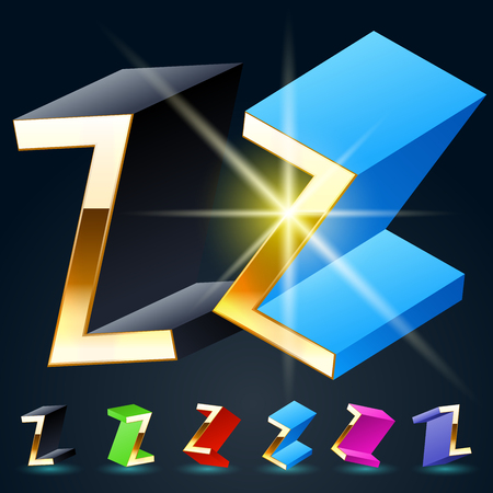 fantastical: 3D vector futuristic luxury alphabet with gold. All symbols in set have 8 random points of view and 6 different colors. Letter Z Illustration