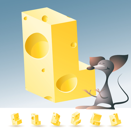 3D vector yellow cheese alphabet with funny mouse. All symbols in set have 6 random points of view. Letter L