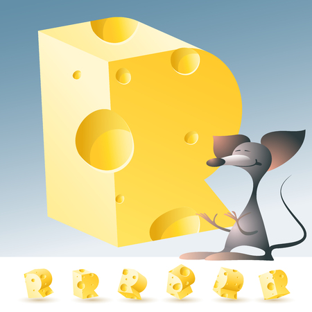 gouda: 3D vector yellow cheese alphabet with funny mouse. All symbols in set have 6 random points of view. Letter R Illustration