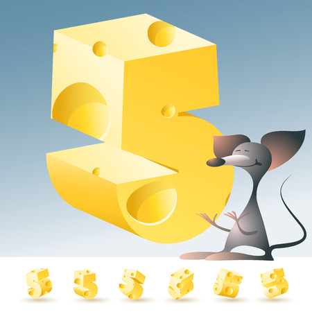 3D vector yellow cheese alphabet with funny mouse. All symbols in set have 6 random points of view. Number 5