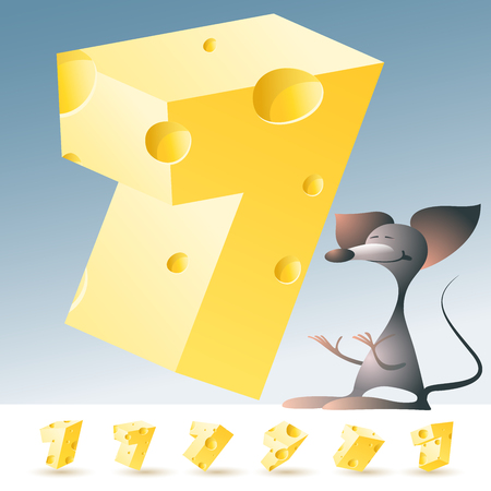 abstract animal: 3D vector yellow cheese alphabet with funny mouse. All symbols in set have 6 random points of view. Number 7 Illustration