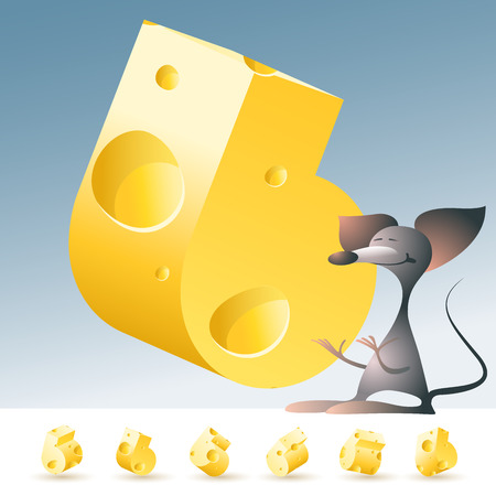 edam: 3D vector yellow cheese alphabet with funny mouse. All symbols in set have 6 random points of view. Number 6