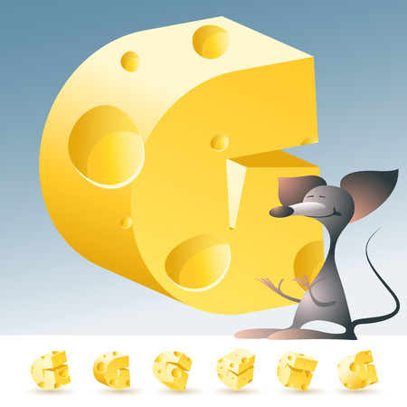 3D vector yellow cheese alphabet with funny mouse. All symbols in set have 6 random points of view. Letter G Çizim