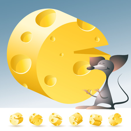 3D vector yellow cheese alphabet with funny mouse. All symbols in set have 6 random points of view. Letter C Banco de Imagens - 45967893