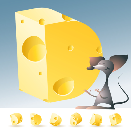 3D vector yellow cheese alphabet with funny mouse. All symbols in set have 6 random points of view. Letter D