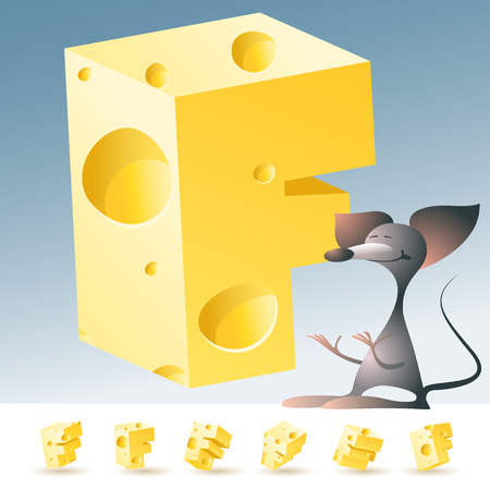 3D vector yellow cheese alphabet with funny mouse. All symbols in set have 6 random points of view. Letter F Vectores