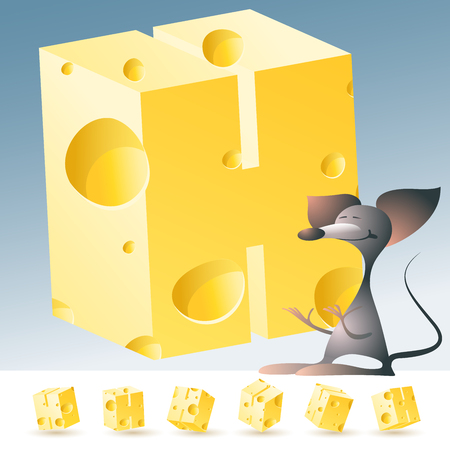 3D vector yellow cheese alphabet with funny mouse. All symbols in set have 6 random points of view. Letter H Иллюстрация