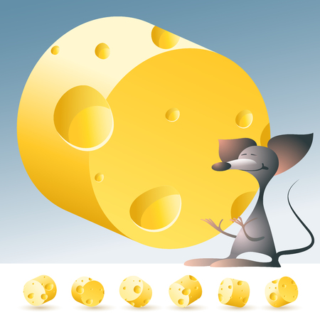 3D vector yellow cheese alphabet with funny mouse. All symbols in set have 6 random points of view. Letter O