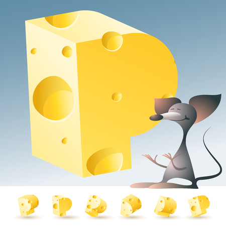 3D vector yellow cheese alphabet with funny mouse. All symbols in set have 6 random points of view. Letter P