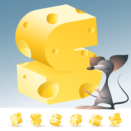 gouda: 3D vector yellow cheese alphabet with funny mouse. All symbols in set have 6 random points of view. Letter S