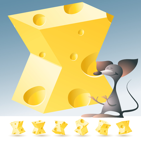 3D vector yellow cheese alphabet with funny mouse. All symbols in set have 6 random points of view. Letter X