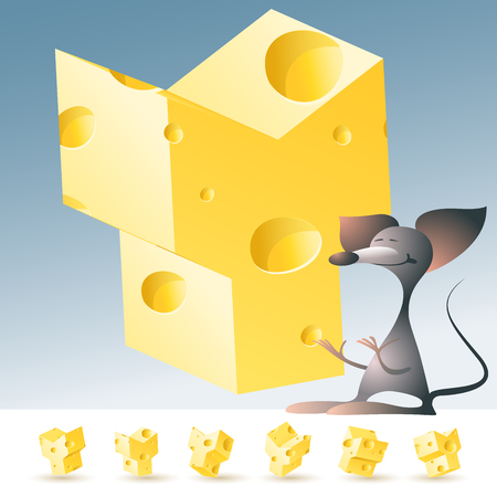 gouda: 3D vector yellow cheese alphabet with funny mouse. All symbols in set have 6 random points of view. Letter Y