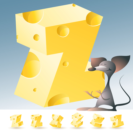 3D vector yellow cheese alphabet with funny mouse. All symbols in set have 6 random points of view. Letter Z Çizim