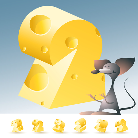 gouda: 3D vector yellow cheese alphabet with funny mouse. All symbols in set have 6 random points of view. Number 2