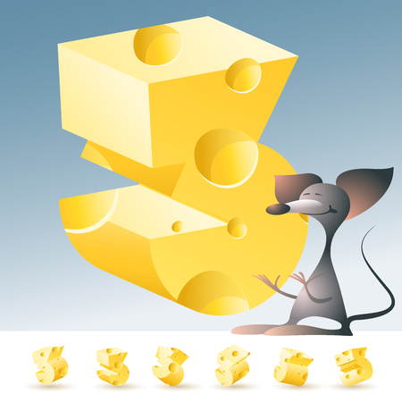 gouda: 3D vector yellow cheese alphabet with funny mouse. All symbols in set have 6 random points of view. Number 3