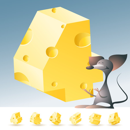 edam: 3D vector yellow cheese alphabet with funny mouse. All symbols in set have 6 random points of view. Number 4