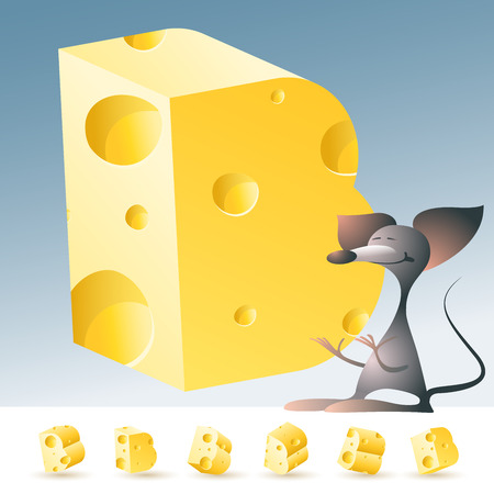 3D vector yellow cheese alphabet with funny mouse. All symbols in set have 6 random points of view. Letter B