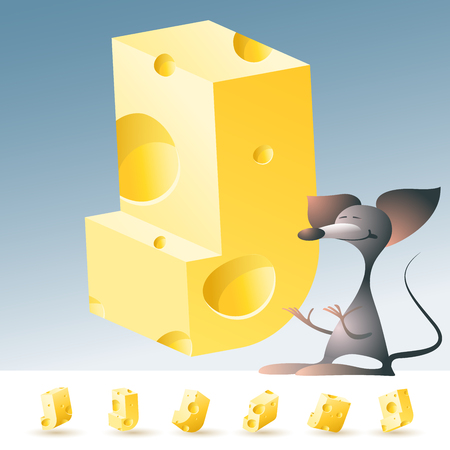 3D vector yellow cheese alphabet with funny mouse. All symbols in set have 6 random points of view. Letter J Vectores