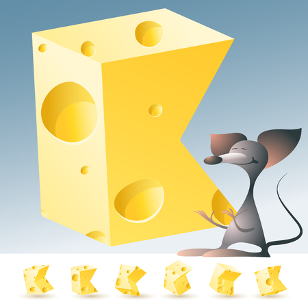 3D vector yellow cheese alphabet with funny mouse. All symbols in set have 6 random points of view. Letter K