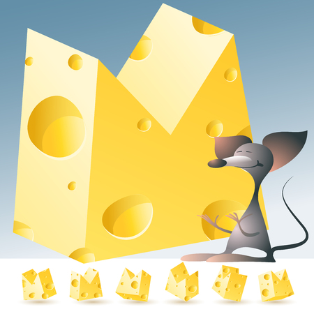3D vector yellow cheese alphabet with funny mouse. All symbols in set have 6 random points of view. Letter M Vectores