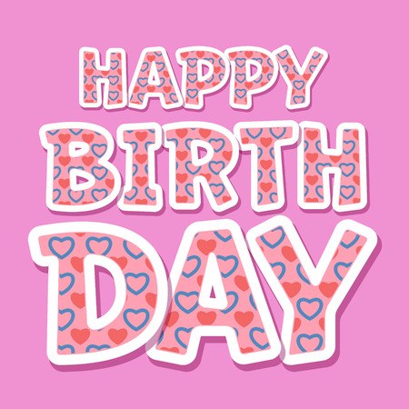 flirty: Happy birthday vector card with flirty heart font on pink background