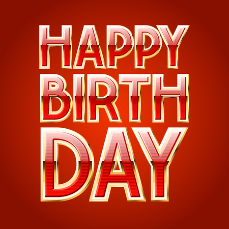 Happy birthday vector card with luxury red and gold font