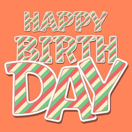 Happy birthday vector card with funny colorful stripes