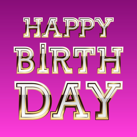 Happy birthday vector card with girly glamour font Ilustrace