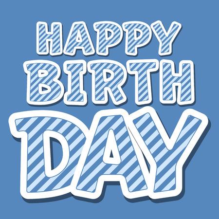 regards: Happy birthday vector card with blue stripes