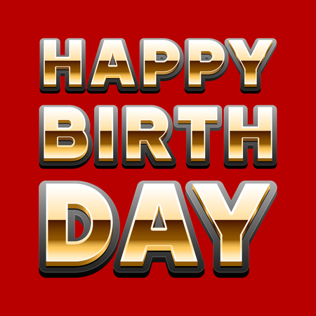 Happy birthday vector card with golden font on red background