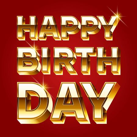 regards: Happy birthday vector card with luxury gold 3D font